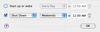 Energy Saver -> Options-> Schedule Repeating Weekends