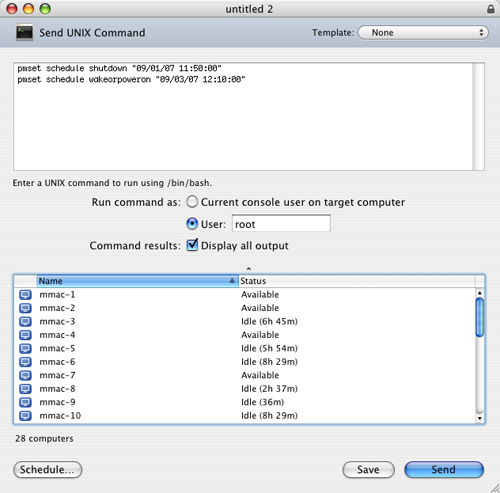 Apple Remote Desktop - Set Specific Date/Time Schedule