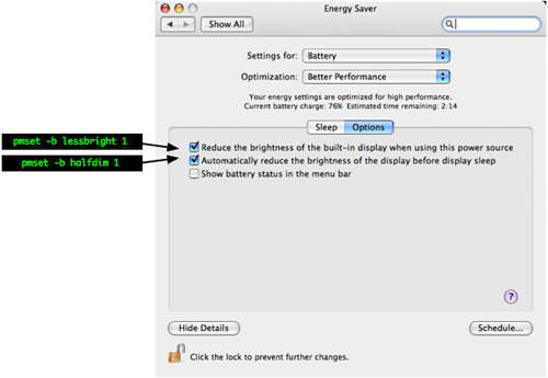 Energy Saver -> Battery -> Sleep vs pmset