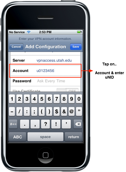 iPhone - VPN IPSec Account