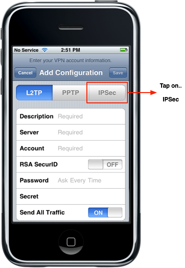 iPhone - VPN Choose IPSec