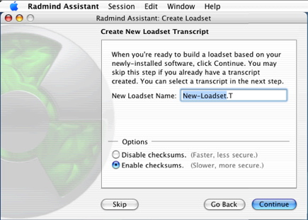 Radmind Assistant - Create New Loadset #2